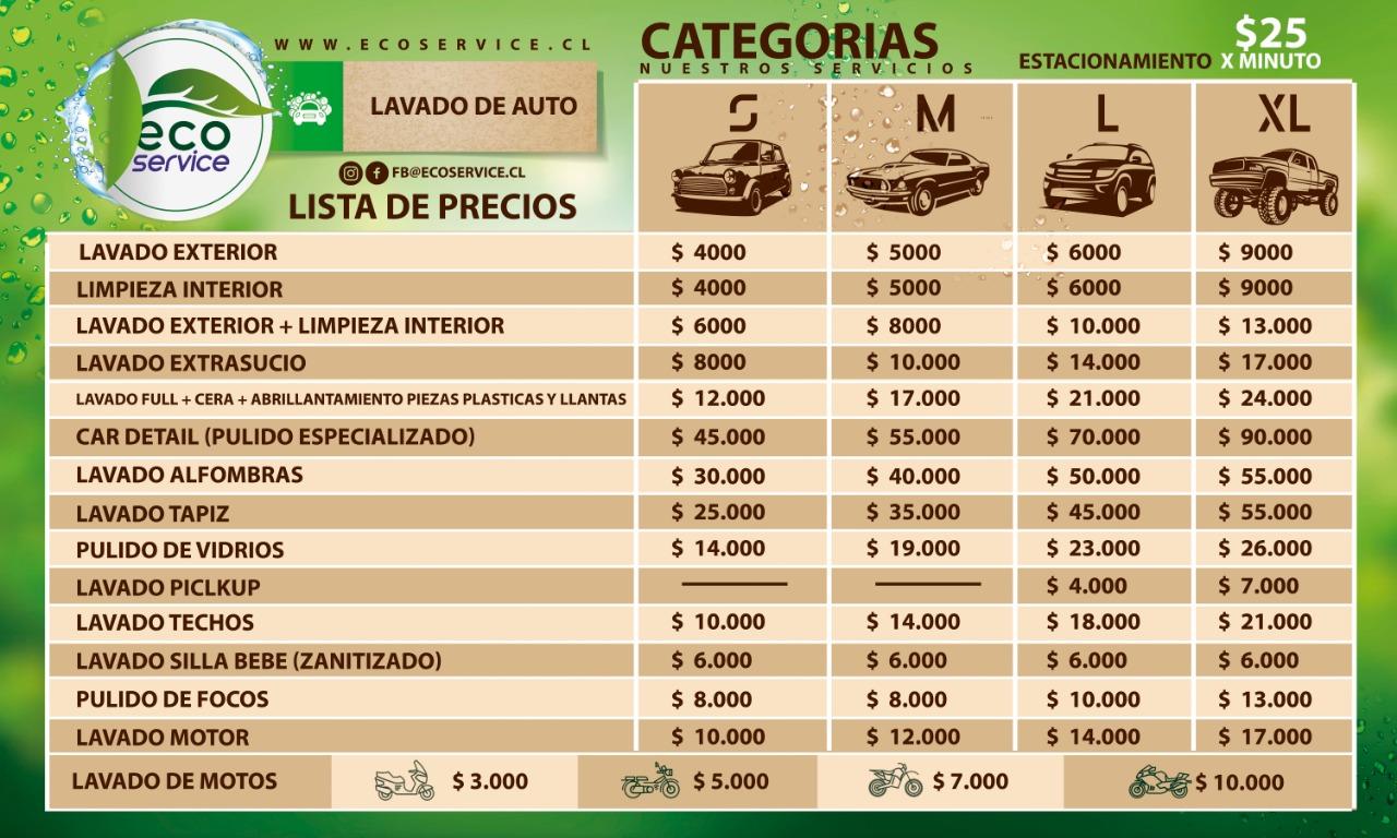 lista de precios ecoservi autolavado